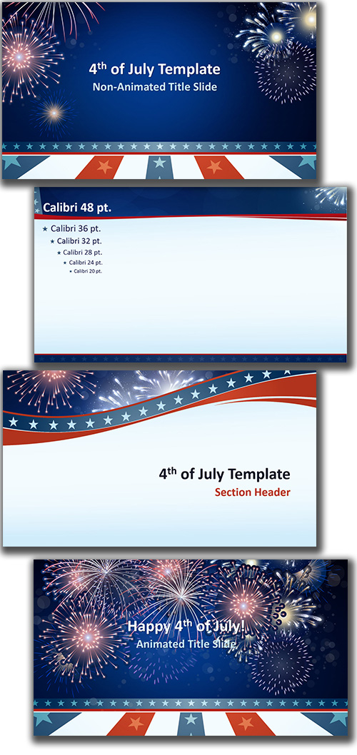 Free powerpoint template 4th of july theme here is a full featured americana themed powerpoint template designed by staff designer cara that features animated fireworks layouts toneelgroepblik Image collections