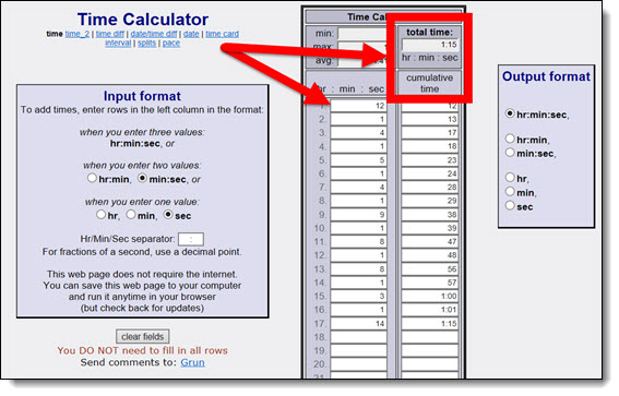 Online time calculator