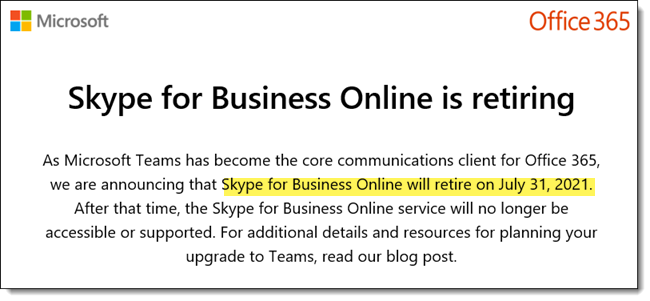 Skype For Businss Official Retirement Date Set | The